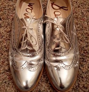 Sam Edelman Shoes - Sam Edelman metallic silver wingtip shoe size 11